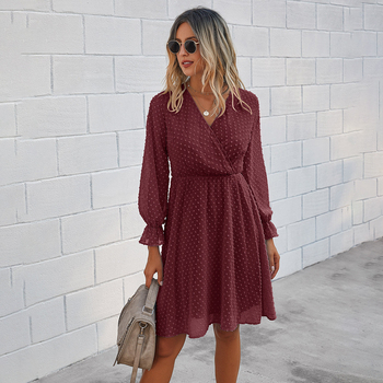 Women Dress Autumn Spring Solid Black Casual Ladies Long Sleeve A Line Dresses Fall Ruched Slim Waist Clothes 2020 Fashion Green 9