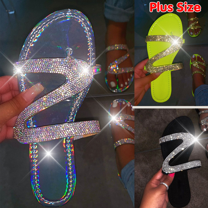 KAMUCC 2020 Women New Z-shaped Diamond Sandals Exquisite Workmanship Non-slip Lightweight Comfortable Hand-made Flip-flops