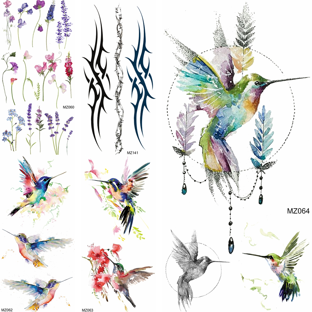 Watercolor Hummingbird Temporary Tattoos Realistic Fake Jewelry Lavender Tattoos Sticker For Women Body Art Arm Waterproof Tatoo
