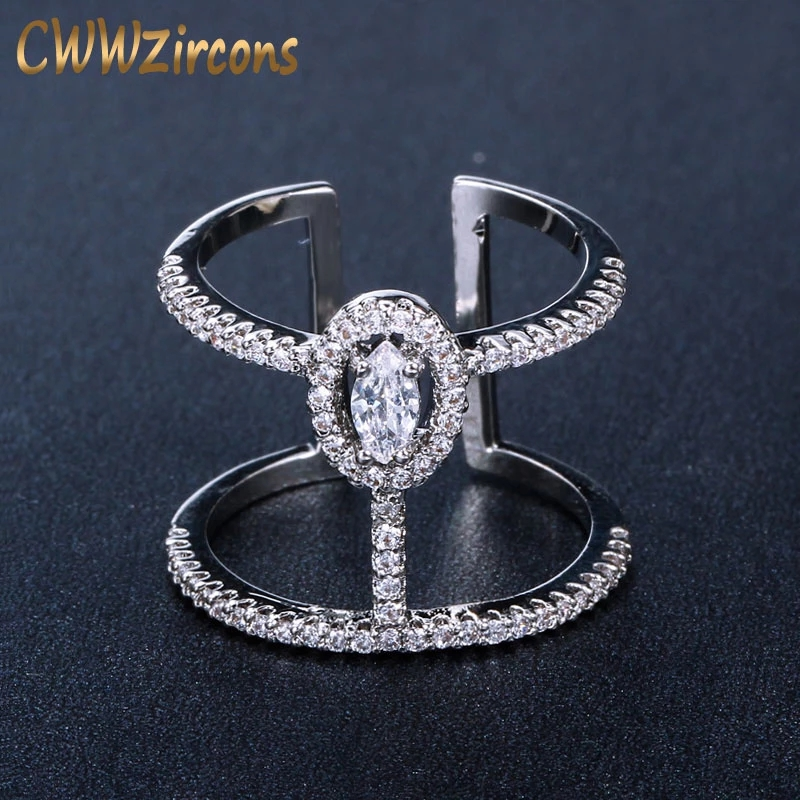 CWWZircons Adjustable Size Fashion Brand Jewelry Micro Pave Cubic Zirconia Stones Silver Color Big Open Rings For Women R065 1