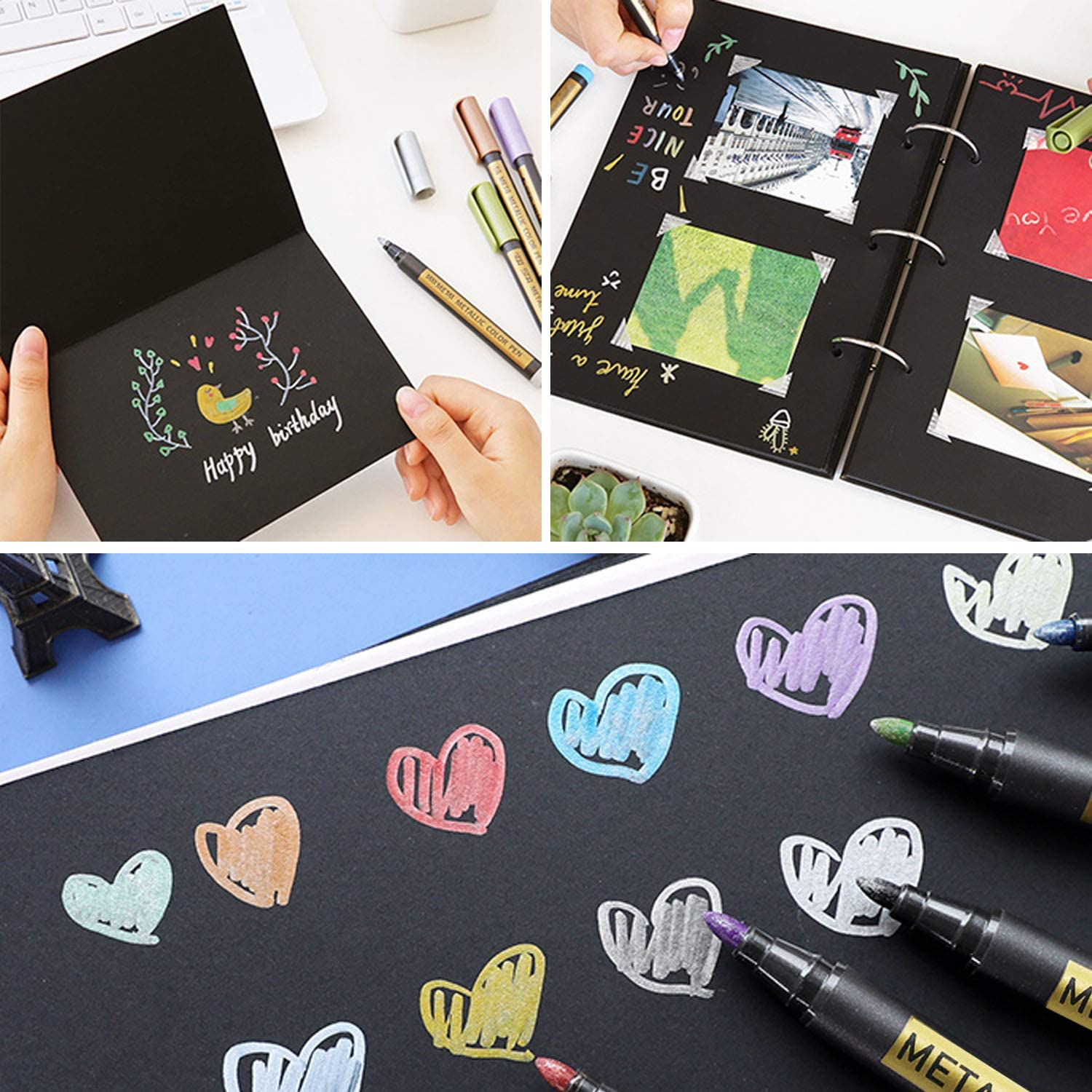 10/20 Color Metallic Paint Marker Pen Permanent Writing Rock Painting Photo Album Scrapbook Glass Wood Canvas Card Art marker 2