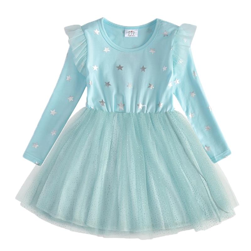 VIKITA Kids Long Sleeve Dresses for Girls Party Dress Star Printed Birthday Tutu Dresses Children Casual Wear Princess Vestidos 15