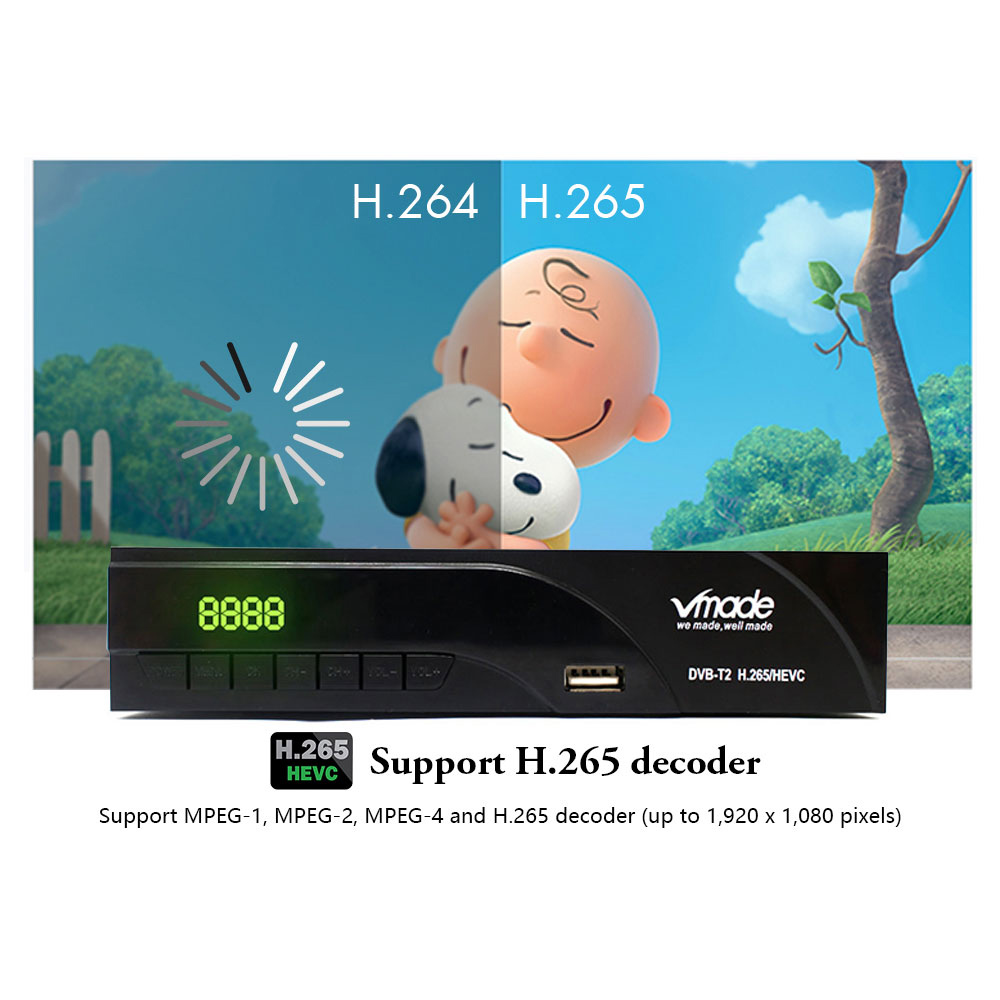 Image 4 - Vmade DVB T2 DVB T HD 1080P Digital Terrestrial Receiver H.265/HEVC TV Tuner Support RJ45 Dolby AC3 Youtube TV Set Top Box-in Satellite TV Receiver from Consumer Electronics