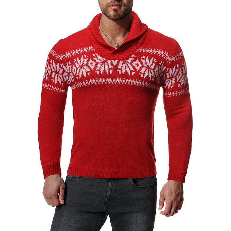 Snowflake Christmas Jumper Sweater Turtleneck Men High-neck Knitted Sweater For Male Tops Pullovers High Collar Red Navy