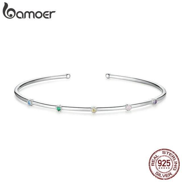 Bamoer argent 925 Bijoux coloré CZ minuscule mince ouvert bracelet pour les femmes 925 Bijoux en argent Sterling 2020 nouveau Design BSB043