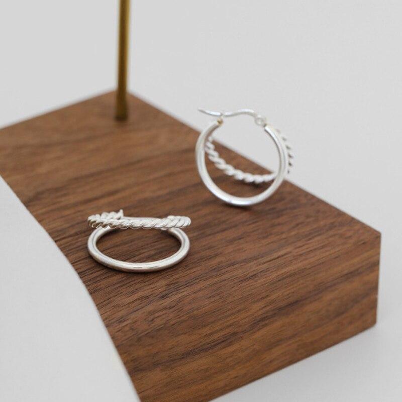 duplas trançado círculo brinco jóias finas yme695