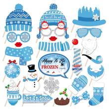 25 pçs chuveiro do bebê boneco de neve photobooth adereços feliz aniversário feliz festa decorações inverno para ser boneco de neve festa photobooth adereços