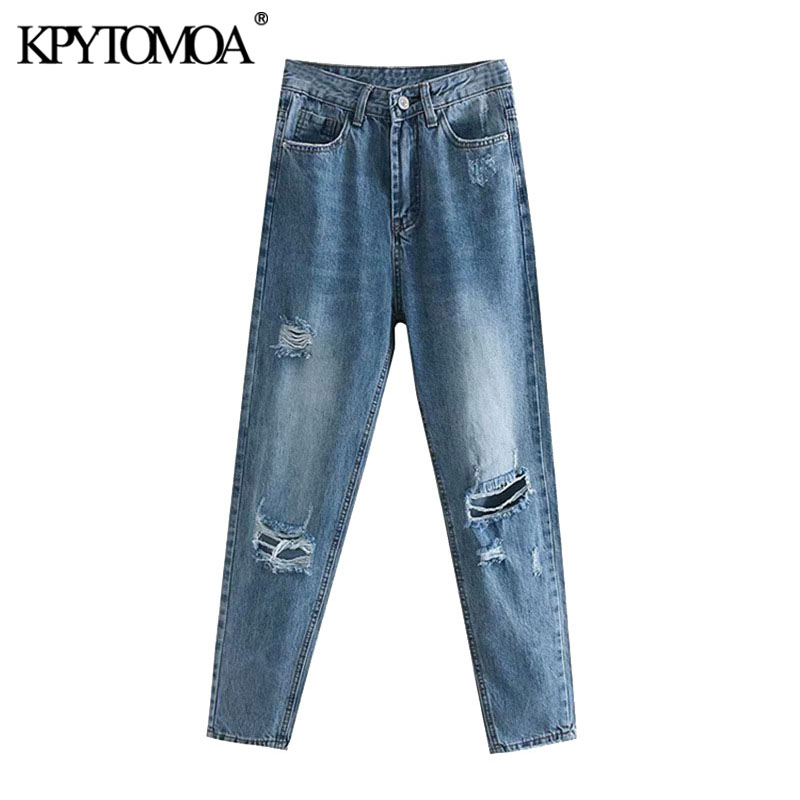 KPYTOMOA Women 2020 Chic Fashion Ripped Hole Boyfriend Jeans Vintage High Waist Zipper Pockets Denim Pants Female Ankle Trousers