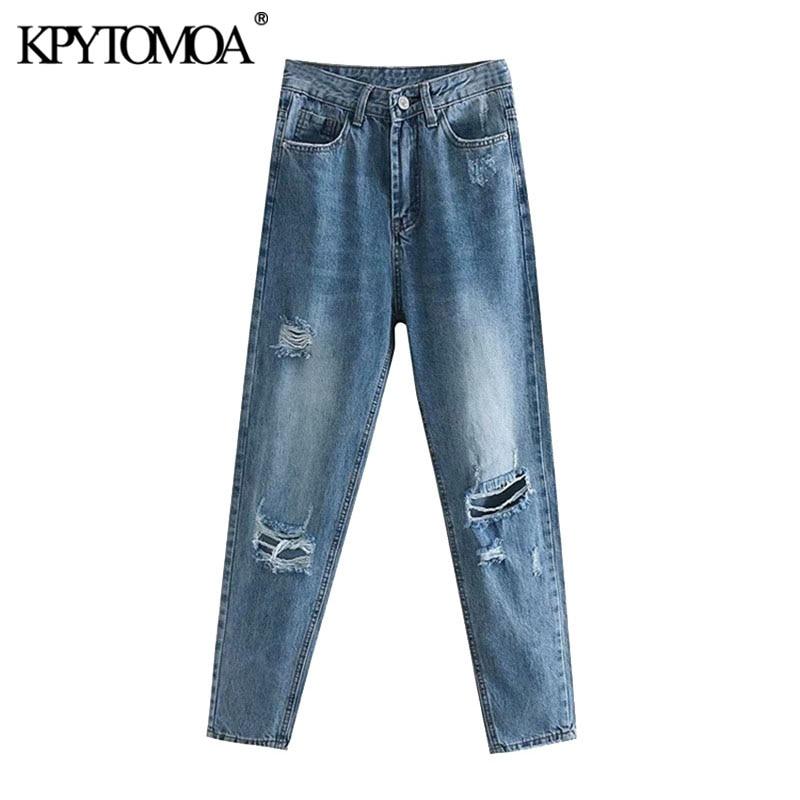 KPYTOMOA Women 2020 Chic Fashion Ripped Hole Boyfriend Jeans Vintage High Waist Zipper Pockets Denim Pants Female Ankle Trousers