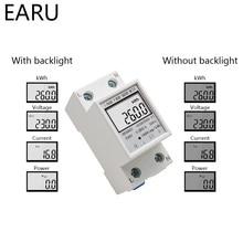 Din-рейка измеритель энергии 5-80A ЖК-подсветка цифровой дисплей однофазный электронный счетчик энергии кВтч Вольтметр Амперметр вольт