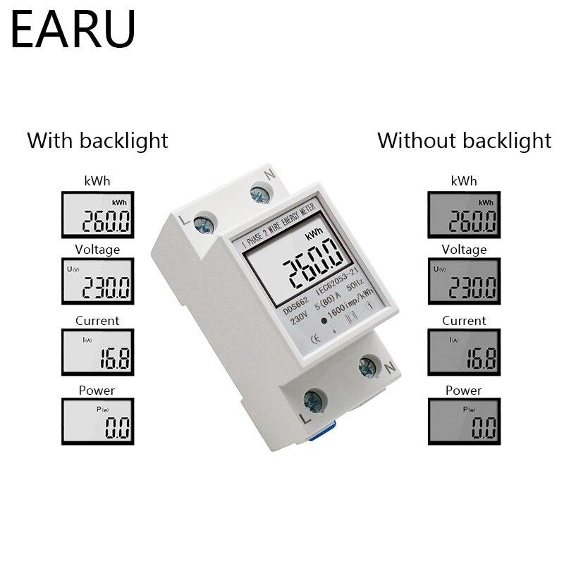 Din-rail Power Energy Meter 5-80A LCD Backlight Digital Display Single Phase Electronic Energy KWh Meter Voltmeter Ammeter Volt
