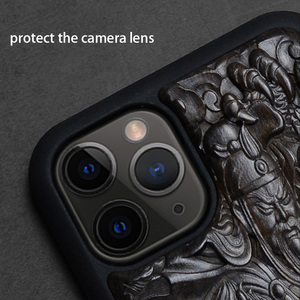 Image 2 - Luxury Carved 3D Stereo Ebony Wood Case for iPhone 11 iPhone11 TPU Full Protective Back Cover Phone Cases For iPhone 11 Pro Max