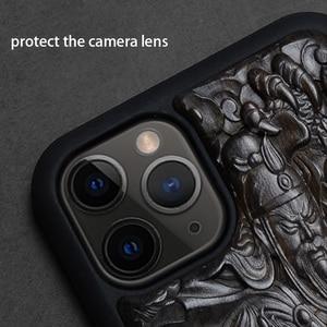 Image 2 - Luxus Geschnitzt 3D Stereo Ebenholz Holz Fall für iPhone 11 iPhone11 TPU Voll Schutzhülle Zurück Abdeckung Telefon Fällen Für iPhone 11 Pro Max