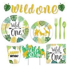 Wild One-vajilla desechable para decoración de fiesta de Safari, platos, vasos de papel, toallas de baño para bebés y niños, decoración de fiesta de cumpleaños