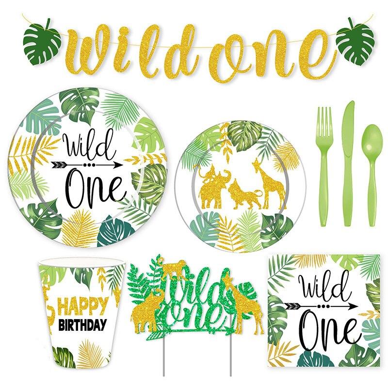 Wild One-vajilla desechable para fiesta de Safari, platos y vasos de papel, toallas de baño para bebés y niños, decoración de fiesta de cumpleaños
