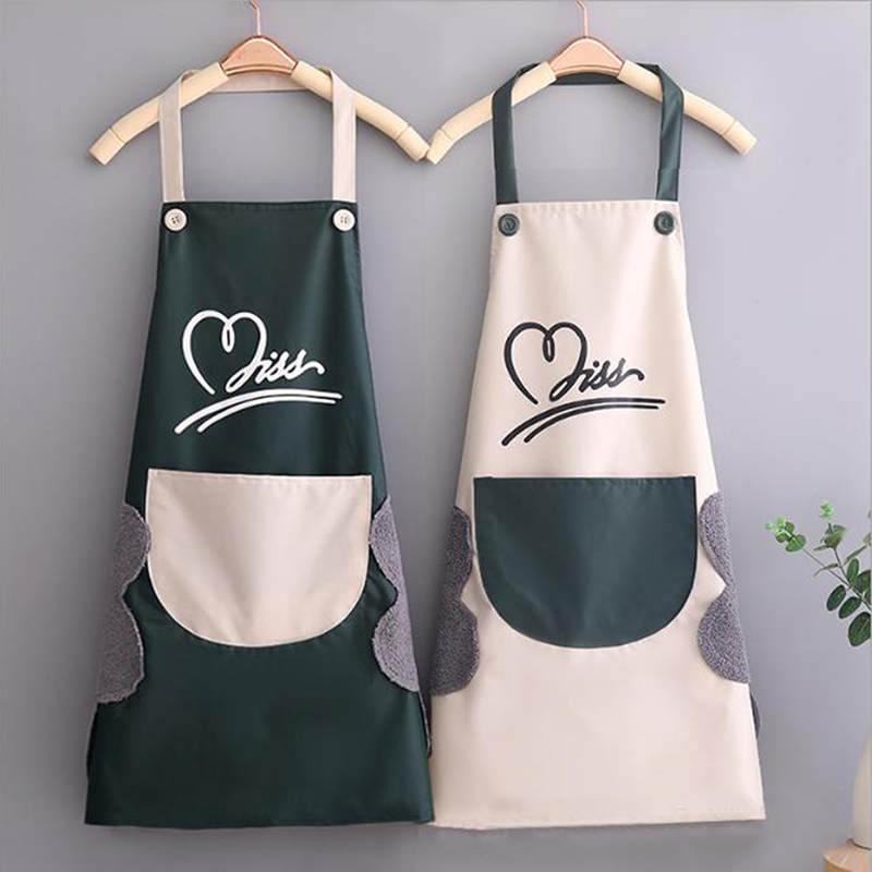 Household Waterproof Hand wiping Kitchen Apron Heart Love Waterproof Polyester Apron Adult Bibs Home Aprons Kitchen Accessory
