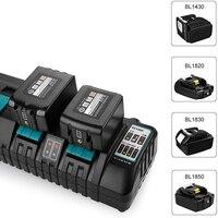 For Makita EU Plug 4 ports battery charger Two USB port 7.2V 14.4V 18V DC18RD DC18RC BL1860 BL1840 BL1830 3A Free shipping