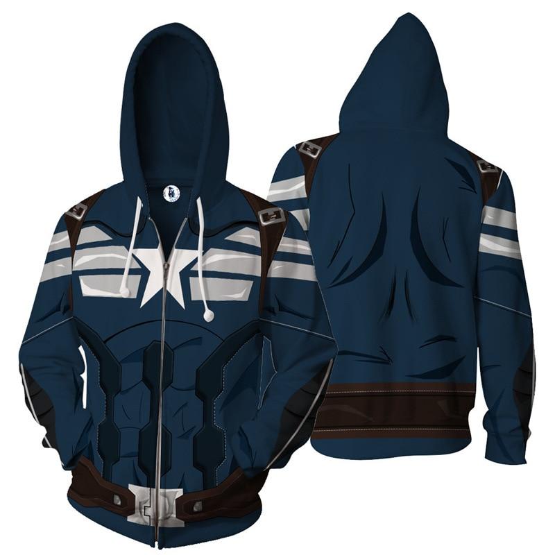 New Avengers Captain America Fashion 3D Printed Hoodies Men Cosplay Sweatshirts Zip Up Superhero Hooded Jacket Streetwear Hoodie