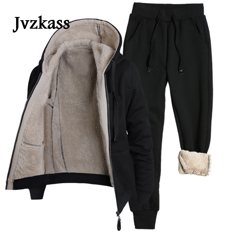 Jvzkass 2019 New Autumn And Winter Hooded Sweater Suit Women Plus Velvet Thick Casual Sportswear Warm Two-piece Z279