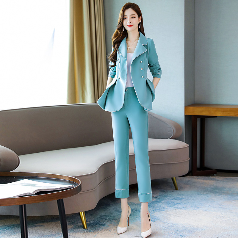 Temperament Women's Suits Pants Suit 2019 Autumn New Slim Solid Color Suit Female Casual Nine-pants High Quality Two-piece Set
