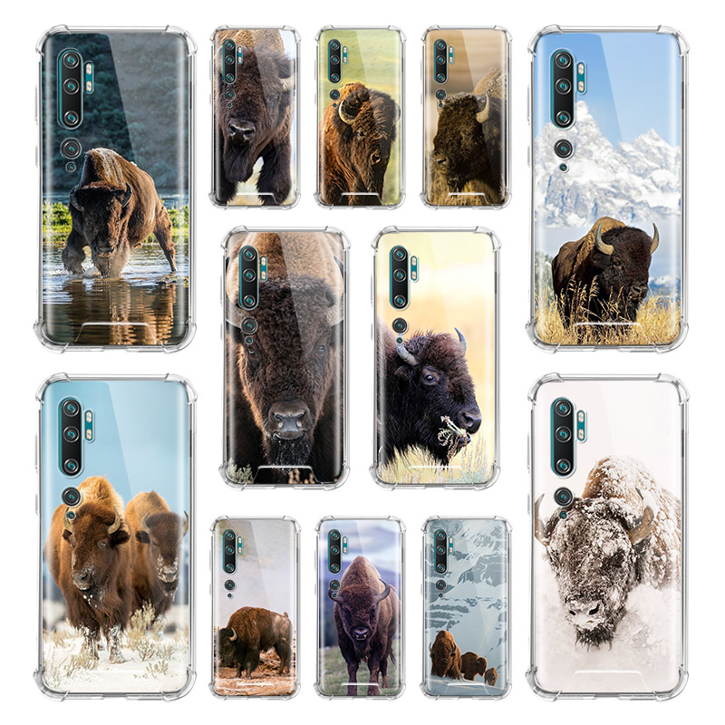 American Bison Wild Animal Case For Xiaomi Mi Note 10 9 CC9 9T Pro 5G CC9E A2 Lite X2 Airbag Anti Fall TPU Phone Coque