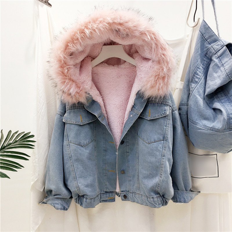 Women Velvet Thick Denim   Parkas   Female Winter Big Fur Collar Korean Lamb Coat Female Student Short Coat Warm Cotton Coats