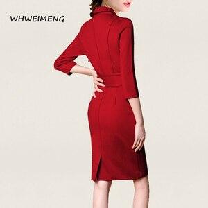 Image 5 - 日のドレス 2020 女性の事務服夏ドレス女性のためのフォーマルウェアvネックエレガントなローブ作業ドレスvestidos