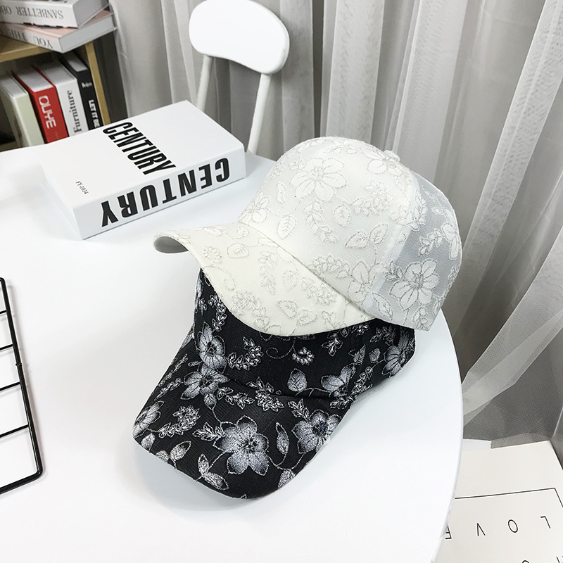 New spring and summer ladies leisure versatile embroidered flower cap outdoor outing thin transparent baseball cap