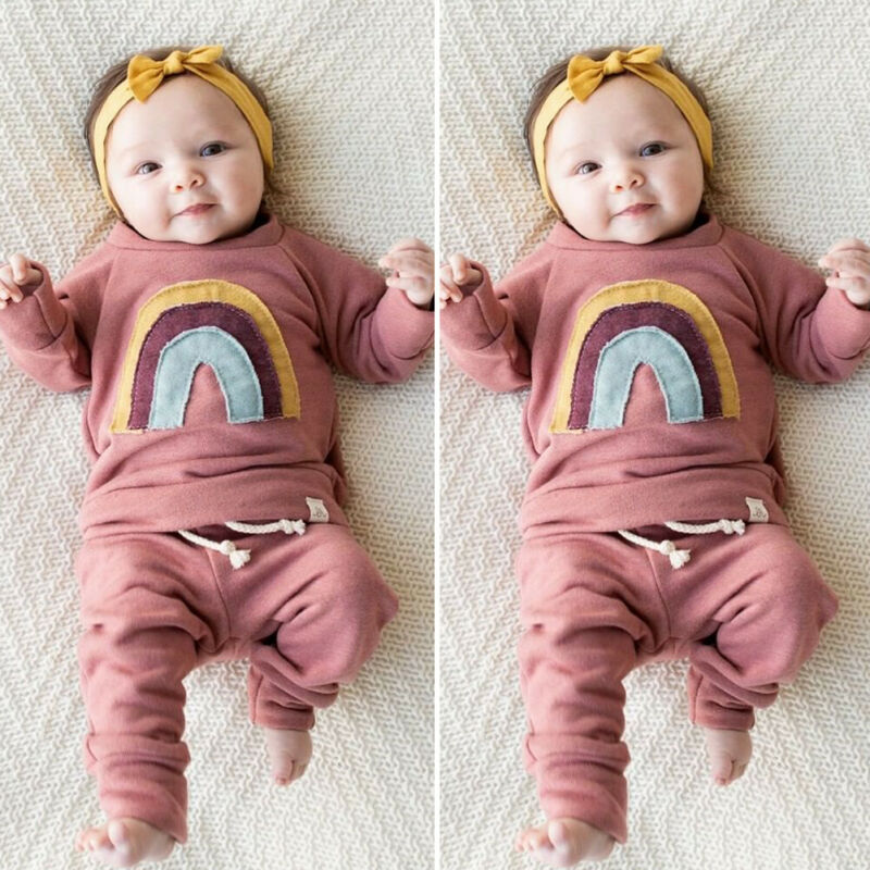 0-3T Newborn Kids Baby Girl Clothes Rainbow Long Sleeve Tops+Ruffle Pants Outfits