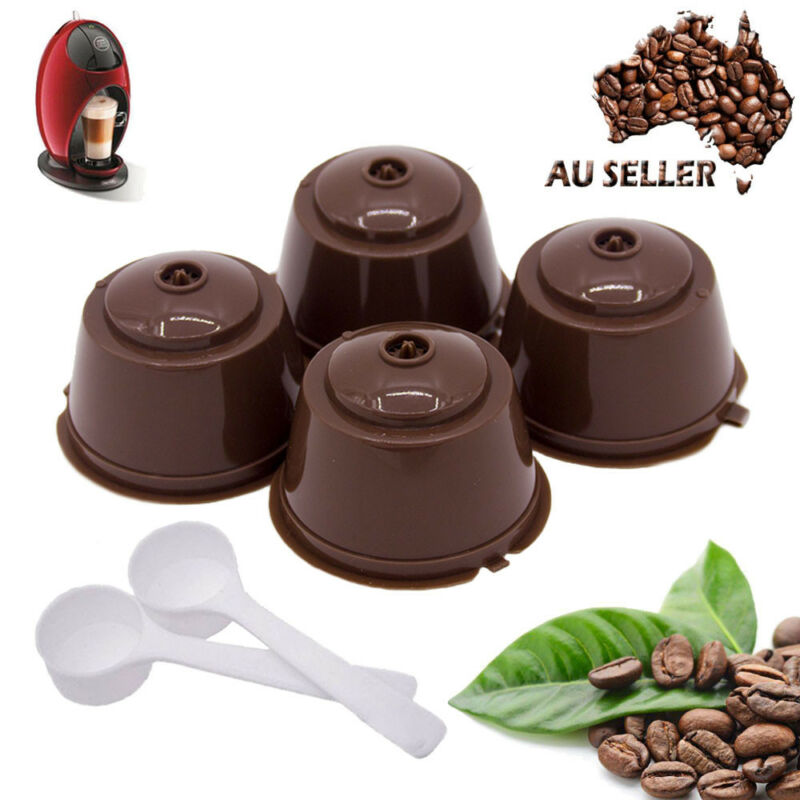 4 pcs Reusable Nescafe Dolce Gusto Coffee Capsule Filter Cup Refillable Caps Spoon Brush Filter Baskets Pod Soft Taste Sweet