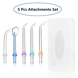 5 Pcs Set Portable Replaceable Dental Water Flosser Jet Tips Nozzles Set for Oral Irrigator Dental Water Floss Teeth Cleaner Box