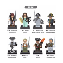 X0160 Pirates of the Caribbean Jack Sparrow Henry Scurm Officer Santos Hector Barbossa Bricks Building Blocks For Children Toys new arrival gudi 9115 pirates of the caribbean series black pearl jack sparrow figure building block toys