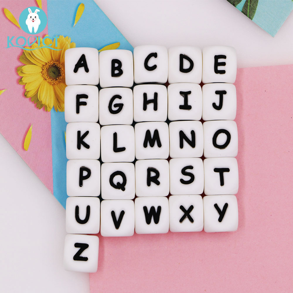 Kovict 12mm 100pcs Silicone Letters Beads Baby Teether Beads For Personalized Name DIY Rodent Chewing Alphabet Bead