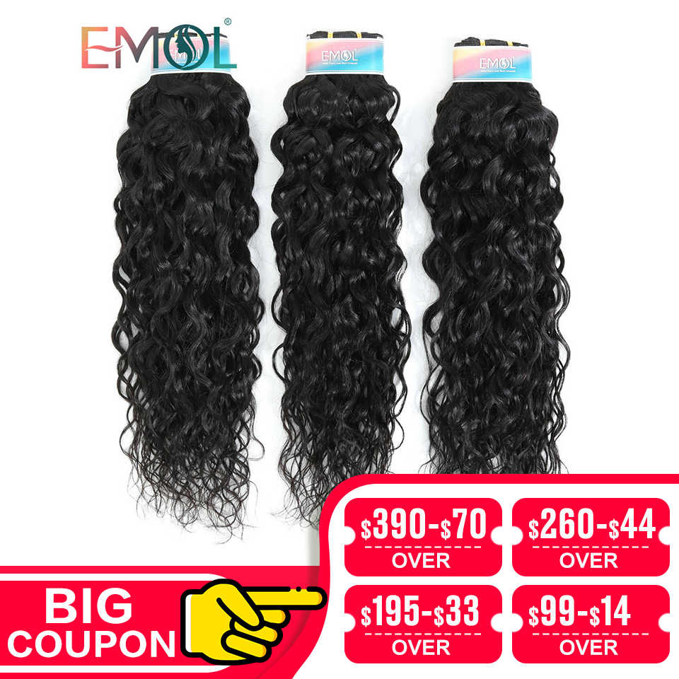 "Emol Indian Water Wave Bundle Hair Extension 8""-28"" 1B Natural Color Human Hair Weave Bundles 1/3/4 Pcs Non-Remy"