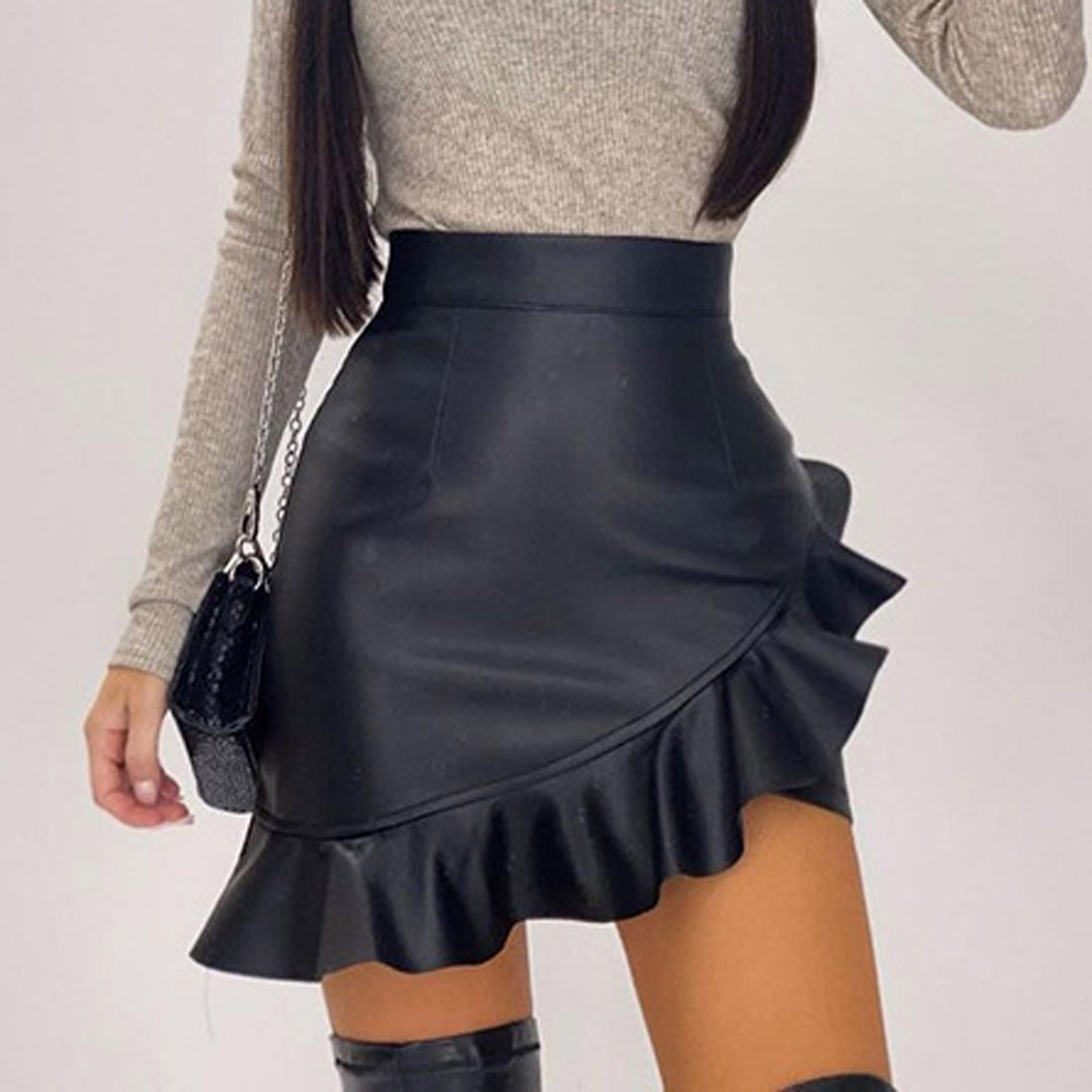 Уличной моды юбка женская однотонная блуза с оборками сексуальное платье трапециевидной формы нерегулярные кожаная юбка миди Юбки Mujer Faldas Женские Юбки
