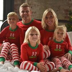 Combinando o natal pjs moda em torno do pescoço imprime família conjuntos de pijama mãe/pai/criança/bebê vermelho listrado roupas de natal