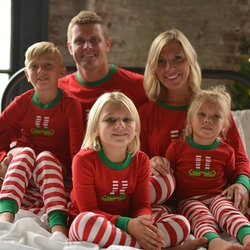 Matching Christmas PJS Fashion Round Neck Prints Family Pajama Sets Mother/Father /Kid /Baby Red Striped Christmas Clothes