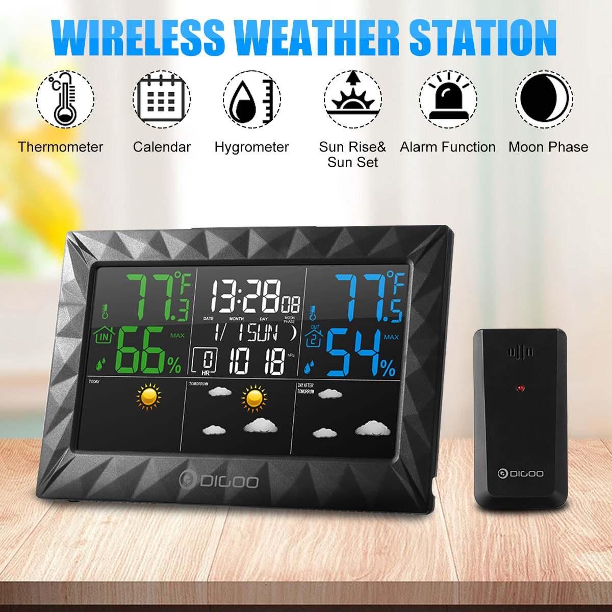 DIGOO DG-8270A Indoor Outdoor Weather Station + 100m Forecast Sensor Thermometer Hygrometer Meter Calendar 3CH Backlight