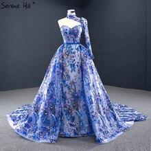 ブルーワンショルダーのセクシーなマーメイドイブニングドレス 2020 ハンドメイド刺繍の花フォーマルドレス穏やかな丘 HM67028