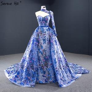 Image 1 - ブルーワンショルダーのセクシーなマーメイドイブニングドレス 2020 ハンドメイド刺繍の花フォーマルドレス穏やかな丘 HM67028