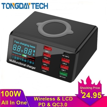 Tongdaytech 100W Multi USB Fast Charger For IPhone 11 Pro Max XS XR 8 Port Usb LCD Quick Charge 3.0 PD Samsung S10