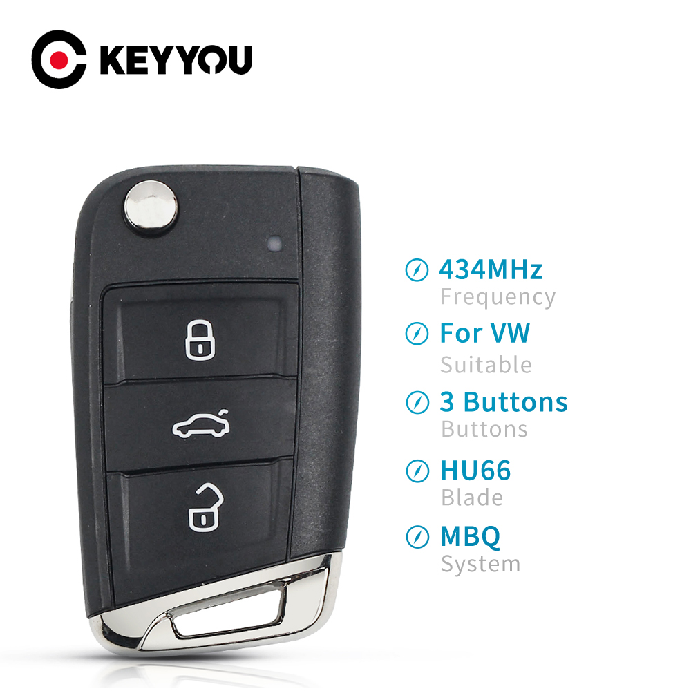 KEYYOU Smart Flip <font><b>Remote</b></font> Car <font><b>Key</b></font> For VW Skoda MQB VII <font><b>Golf</b></font> MK7 2017 Touran Polo Tiguan Half 5G6959752AB 434MHz With ID48 Chip image
