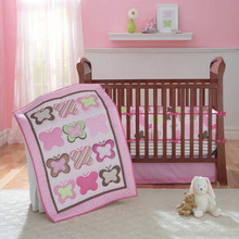 цена на 4set/Pcs Girl Crib Bedding Sets Cotton Animal Newborn Brower Crib Skirt Baby Pink Quilt Cover Soft crib bedding set Girl