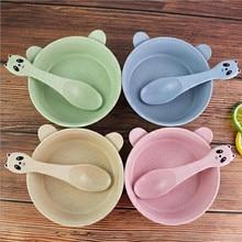 2pcs/set Baby Tableware Set Cartoon Panda Bowl Spoon Wheat Straw Eco-friendly Kid Training Dinnerware Anti-hot Plate