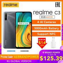 realme C3 3GB RAM 64GB ROM Global Version NFC 5000mAh Battery Helio G70 AI Processor 12MP AI Dual Camera HD+Mini-drop Fullscreen