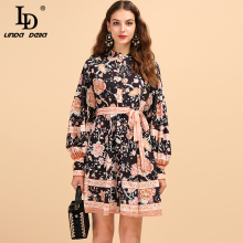 LD LINDA DELLA Autumn Fashion Runway Long Sleeve Dress Women's Front Self Tie Belted Retro Floral Printed Elegant Vintage Dress self belted floral peg pants