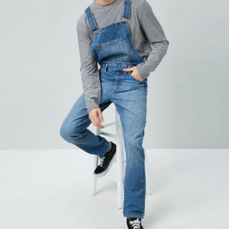 2019 Popular  Men's Ripped Jeans Jumpsuits Hi Street Distressed Denim Bib Overalls For Man's Jeans Suspender Pants Size S-3XL