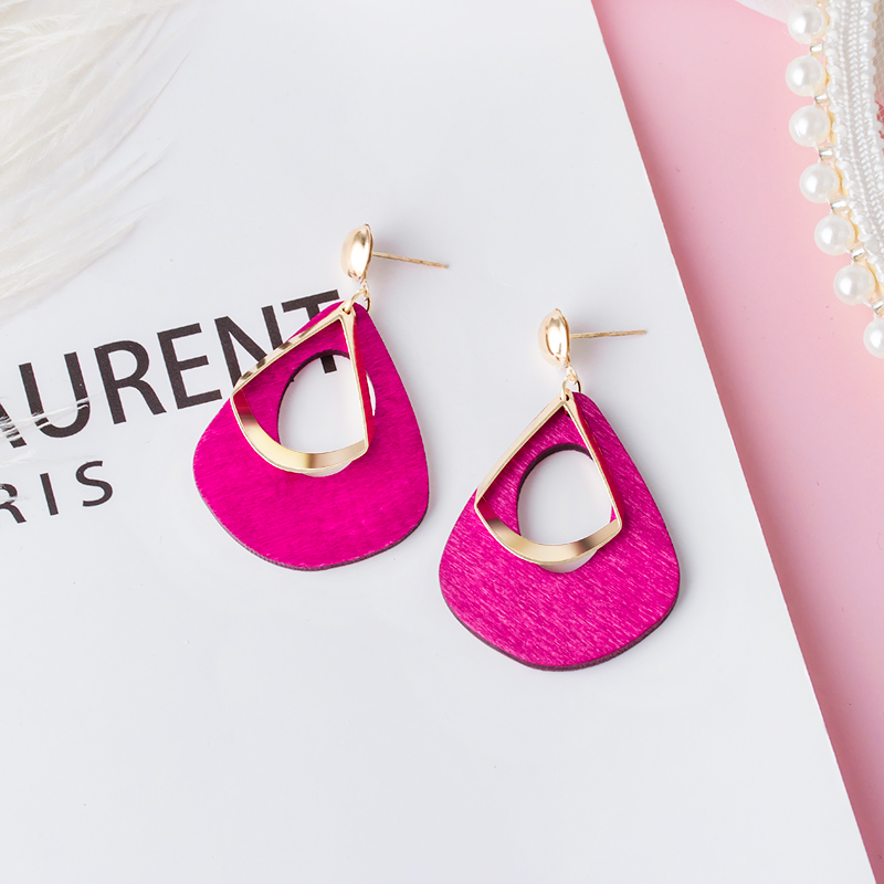 New Korean Statement Geometric Long Wooden Drop Earrings For Women Cute Pink Wedding Hanging Dangle Earring 2019 Fashion Jewelry