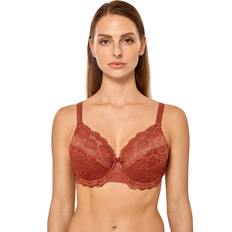 Women's Full Coverage Non-Foam Embroidery Floral Lace Plus Size Underwired Minimizer Bra