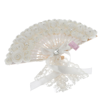 White Wedding Folding Fan for Out Door Event, Wedding Parties, Table Setting Decoration